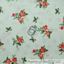 BonEful Fabric Cotton Quilt Green Red Poinsettia Flower Xmas Holly Berry L SCRAP
