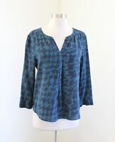 41 Hawthorn Stitch Fix Teal Blue Silk Abstract Houndstooth Popover Blouse Top M