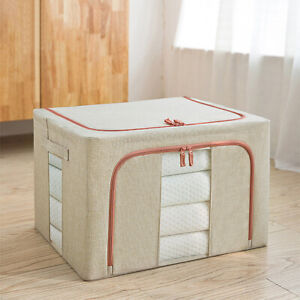 Clothes Storage Box w/ Oxford Fabric Steel Frame Bed Sheets Blanket Organizer