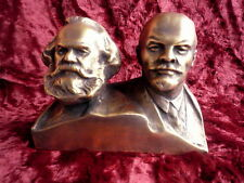 USSR Soviet Russian Lenin and Karl Marx metal bust sculpture statue H=12 cm.