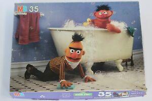 Vintage 1985 Sesame Street Floor Puzzle 4672-3 Bert Ernie Bathtub 35 Pc Complete