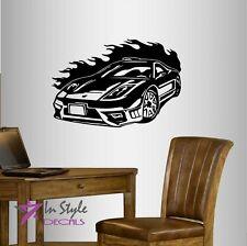 Vinyl Decal Sports Car Race Car Fire Flames Racing Boys Room Wall Sticker 486