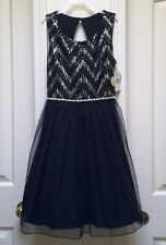 Speechless Girl's Dazzling Silver & Navy Blue Fanciful Dress-10 or 12