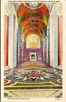Vtg 1930's State Capitol Interior Vestibule View, Lincoln Nebraska NE Postcard