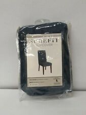 SUREFIT SLIPCOVER SHORT DINING CHAIR STRETCH CHENILLE STORM BLUE (NEW)