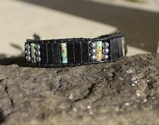 Blackstone Beaded Leather Wrap Bracelet Men's Bracelet African Turquoise and