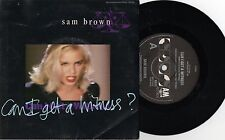 """SAM BROWN - CAN I GET A WITNESS - RARE 7"""" 45 PROMO VINYL RECORD w PICT SLV 1988"""