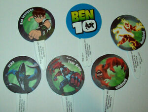 BEN 10 AND ALIENS CUPCAKE PICKS OR DECORATIONS - Pack of 12 assorted designs