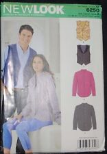 Vintage New Look Sewing Pattern 6250 Size XS XL Uncut Shirts and Vest