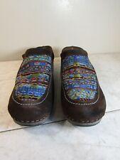 Dansko Mystique Tapestry Brown Suede Mules Shoes Clogs Slip On Size EU 39