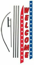 Patriotic Welcome Advertising Feather Banner Swooper Flag Sign With Flag Pole