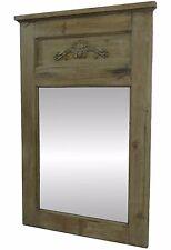 Miroir Trumeau Glace d'Entree Mural avec Frise Resine Rectangle Bois 100x65cm