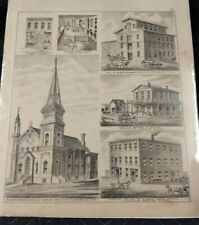 ANTIQUE c.1800s LITHO PRINT ROCHESTER OLMSTED COUNTY MINNESOTA LOCAL BUSINESSES