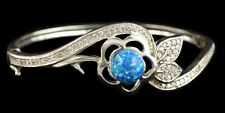 Alducchi Blue Fire Lab Opal -CZ  S925 Sterling Silver FloralL Bangle Bracelet