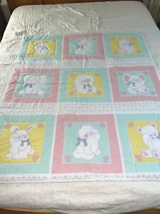 """ADORABLE Vintage Handmade Hand quilted Animals Quilt Crib baby 44"""" x 51"""""""