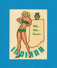 "VINTAGE ORIGINAL 1946 SEXY ""MISS INDIANA"" STATE PINUP GIRL TRAVEL WATER DECAL"