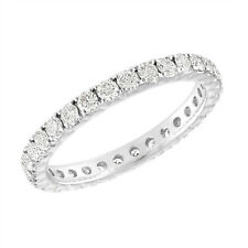 Diamond Eternity Wedding Ring French Pave Wedding Band 14K White Gold 0.90 Carat