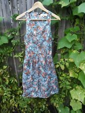 $285 Vanessa Bruno Athe Cut Out Cotton Silk Teal Buttoned Floral Dress Size 38