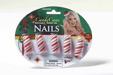 Candy Cane Red White Christmas Reusable Press On Nails Adult Costume Accessory