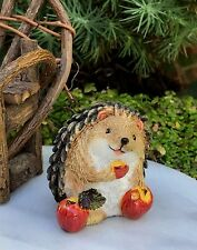 Miniature Dollhouse FAIRY GARDEN ~ Mini Hedgehog Figurine Sitting w Apples ~ NEW