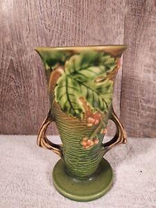 Vintage Roseville Pottery Bushberry Green Vase 30-6