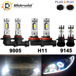 LED Headlight Combo 9005 H11 + 9145 Fog Bulb Kit for Ford F-150 2015-2020 Escape