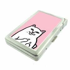 Mean Cat Em1 Cigarette Case with Built in Lighter Metal Wallet