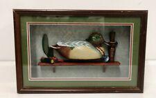 Shadowbox 1992 Ducks Unlimited Green Wing Teal Framed Wood Duck Decoy on Shelf