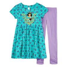 Disney Princess Jasmine Aqua Dress & Purple Leggings Outfit Toddler Girl 2T NEW