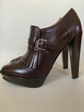 Ralph Lauren Dark Brown Leather Ankle Boots Size EUR 37 With Brogues Details