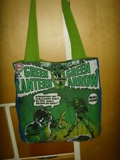 HANDMADE  VINTAGE COMIC GREEN LANTERN GREEN ARROW  13in  LINED Tote book  bag