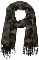 Collection XIIX Women's Oversized Wrap Black One Size Fringe Woven Camo$28 986