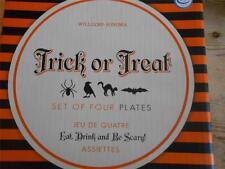 4 Williams SOnoma Trick or Treat Halloween Appetizer Plates NIB