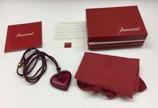 Authentic BACCARAT Burgundy Red A La Folie Crystal Heart Pendant Necklace + Box