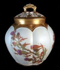 RARE ANTIQUE ART NOUVEAU ROYAL WORCESTER BLUSH IVORY HAND PAINTED POTPOURRI JAR!