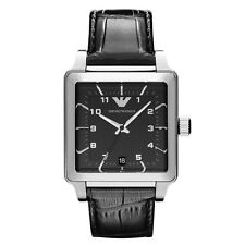 Emporio Armani AR1621 Black Leather Strap Silver Mens Classic Watch