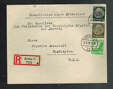 1939 Breslau Germany Cover to PResident roosevelt FDR Collection USA