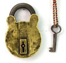 Rare Handmade Indian Brass Double Lever Padlock Vintage Collective. G2-343