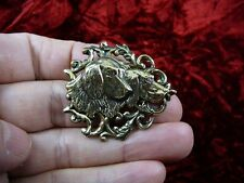 (b-dog-352) Two hunting dogs terrier pointer hound heads dog brass pin pendant