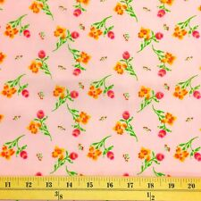 Freesia Pink Print Fabric Cotton Polyester Broadcloth By The Yard 60""