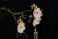 Retro Flower Beads Tassel Hairpin Accessory for Kimono Hanfu Party Cosplay