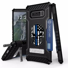 For Samsung Galaxy Note 8 Armor Hybrid Tough Case Thin Blue Line Punisher Skull