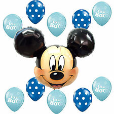 Baby Shower Supplies Mickey Mouse Blue Polka dots It's a Boy Foil Latex balloons