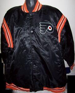 PHILADELPHIA FLYERS NHL STARTER Satin Snap Down Jacket BLACK BIG MANS 4X 6X