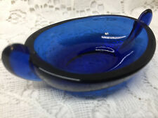 Cobalt Blue glass oval Aladdin pattern salt dip / cellar / celt master dish tray
