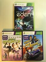 Xbox 360 Kids 3 Game Kinect Lot - Kinect Sports, Joy Ride & Child of Eden Family