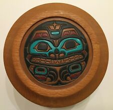 Steven C. Evans Grizzly Bear Hand Tooled PNW Salish Leather Art + Wood Bowl