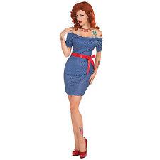 # années 1970 Betty Déguisement Bleu Robe & rouge ceinture déguisement costume
