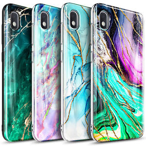 For Samsung Galaxy A10E A20 A50 Case, Slim Marble Phone Cover + Tempered Glass
