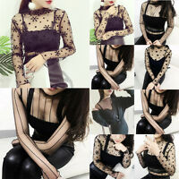 Women T Shirt Long Sleeve Crop Perspective Hollow Out Lace Blouse Cover Up Tops